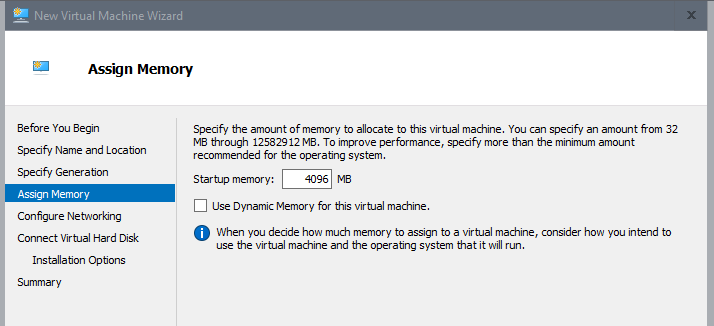 Create App Layering virtual machine with Hyper-V - Assign memory