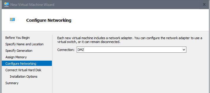 Create App Layering virtual machine with Hyper-V - Select network adapter