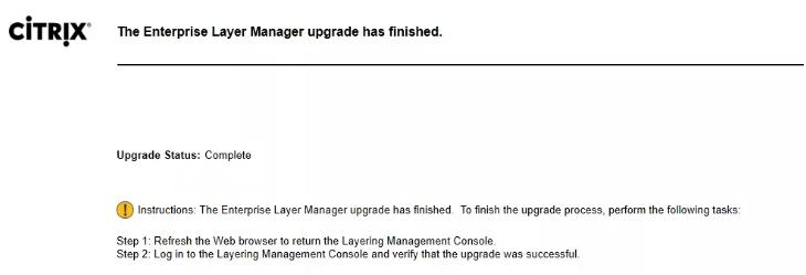 Upgrade has finished