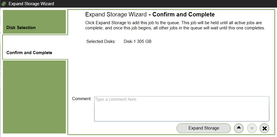 Expand storage wizard confirmation