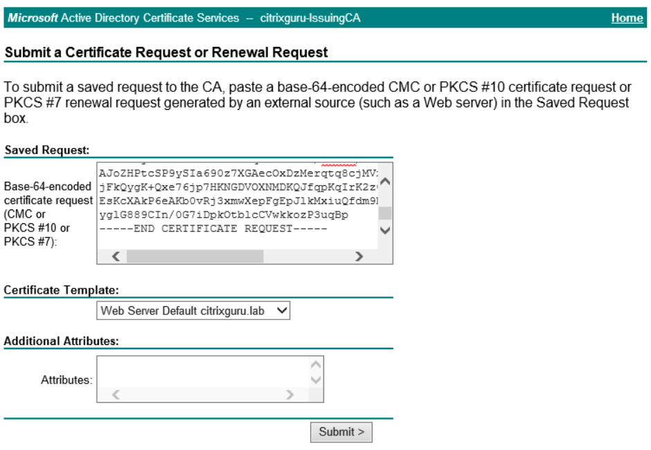 Generate SSL certificate from Microsoft CA enrollment page