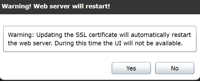 The appliance will reboot to install the new certificate