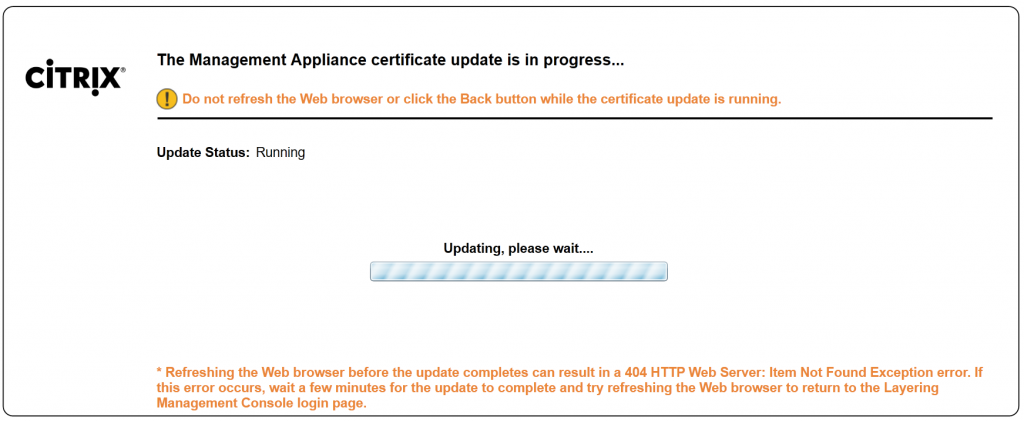 Rebooting to apply the new SSL certificate