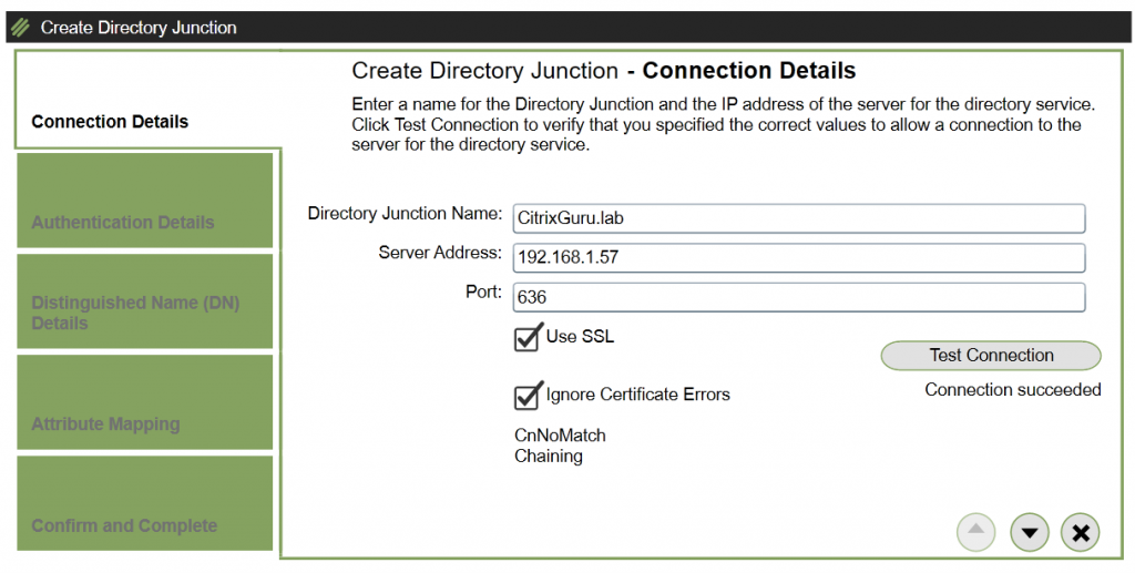 ELM - Create Directory Junction - Connection Details