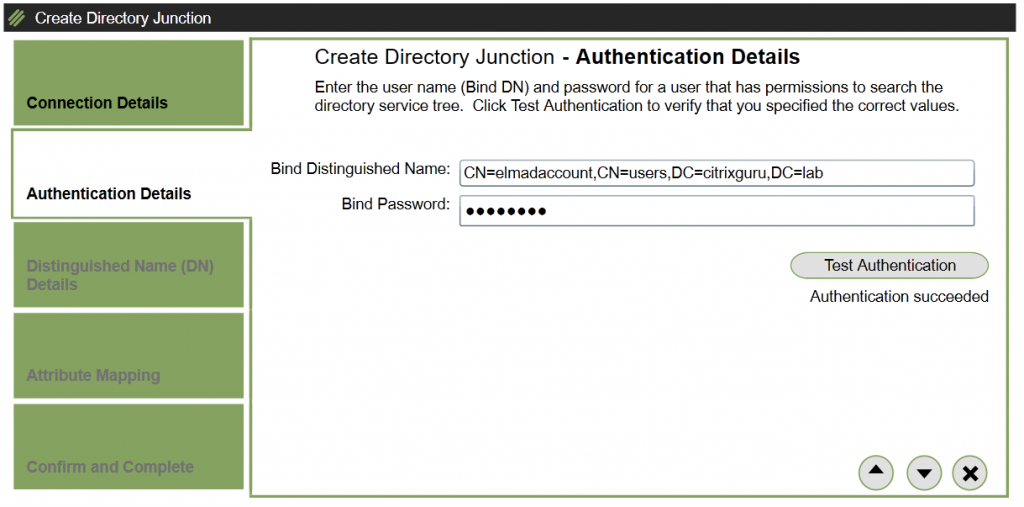 ELM - Create Directory Junction - Authentication Details