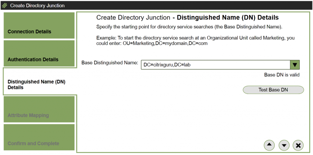 ELM - Create Directory Junction - DN Details