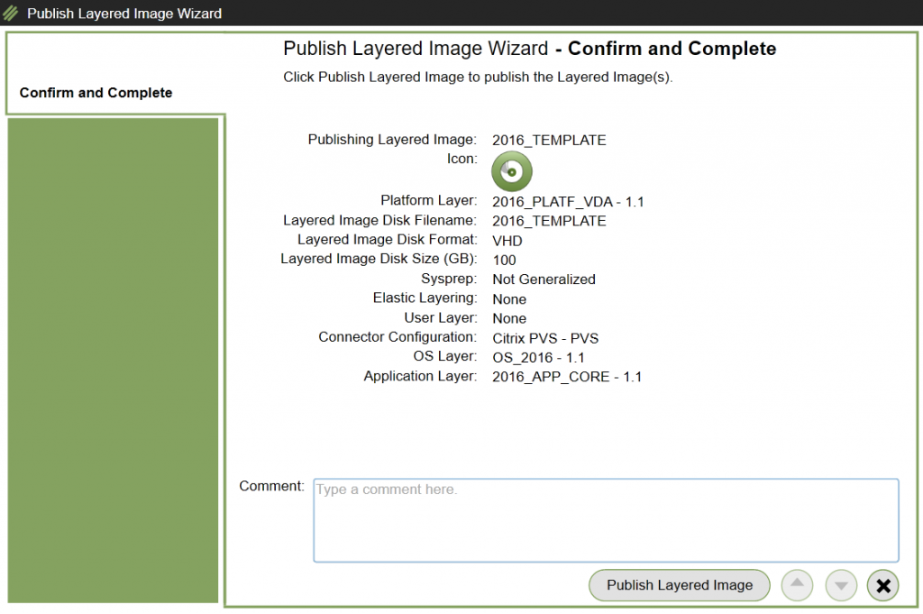 App Layering Image Deployment - Template - Publish Template confirmation