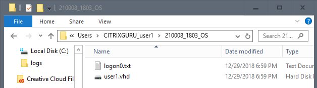 User Layer folder - first logon