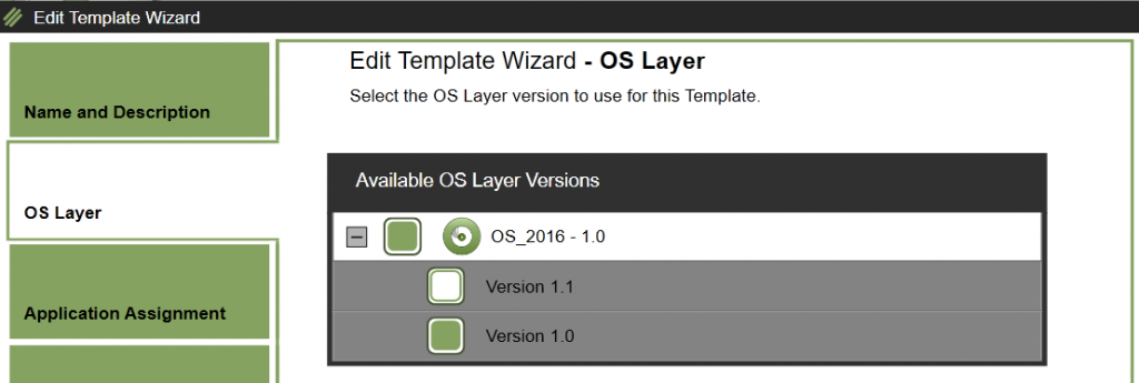 App Layering Image Deployment - Edit template - Edit OS Layer