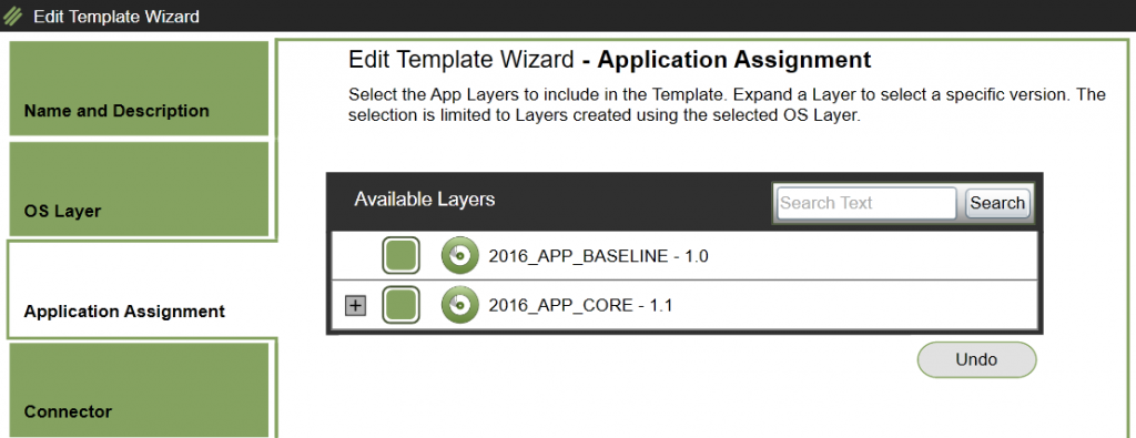 App Layering Image Deployment - Edit template - App Layers