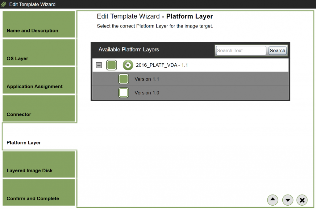 App Layering Image Deployment - Edit template - Platform Layer