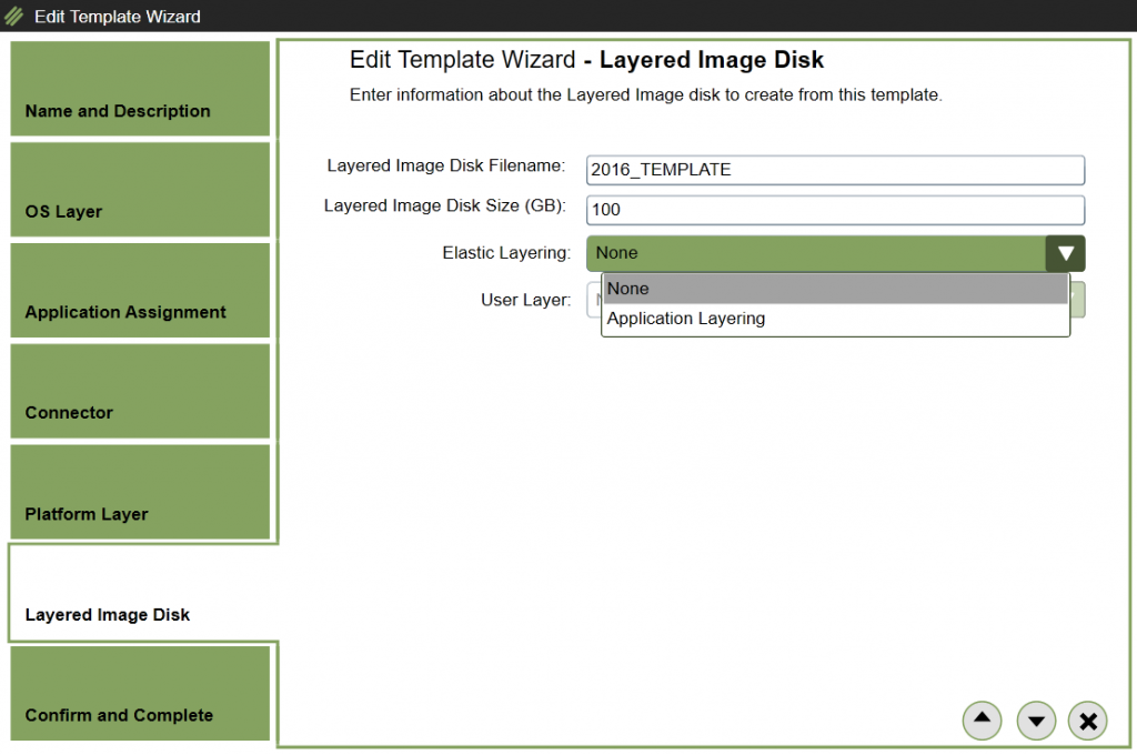 App Layering Image Deployment - Edit template - Layered Image Disk