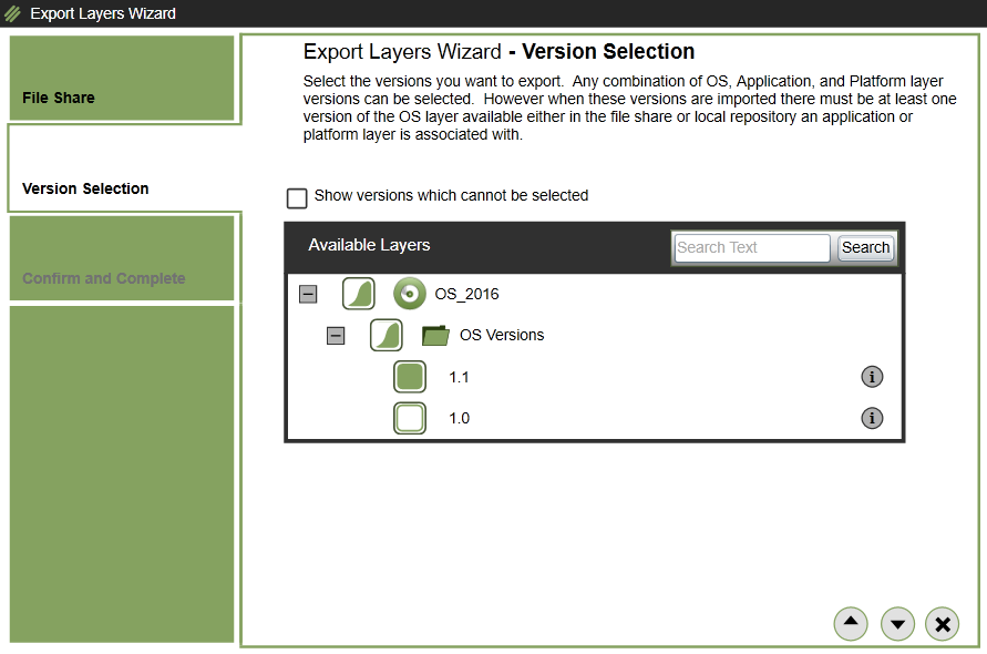 App layering - Export Layer - Version selection
