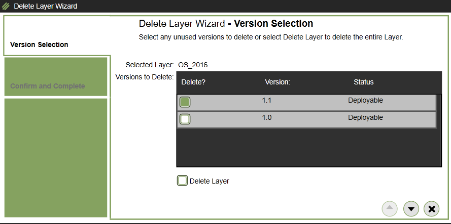 App layering - OS Layer - Select version to delete