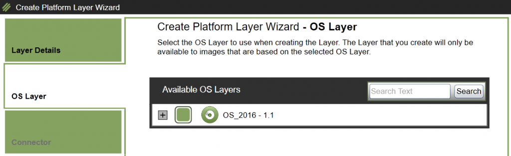 Create Platform Layer - Select OS Layer