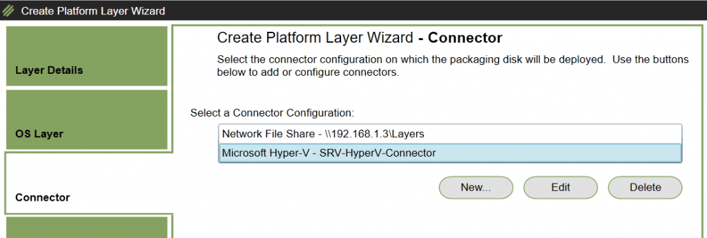 Create Platform Layer - Select Connector