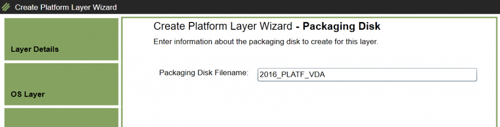 Create Platform Layer - Enter Packaging Disk