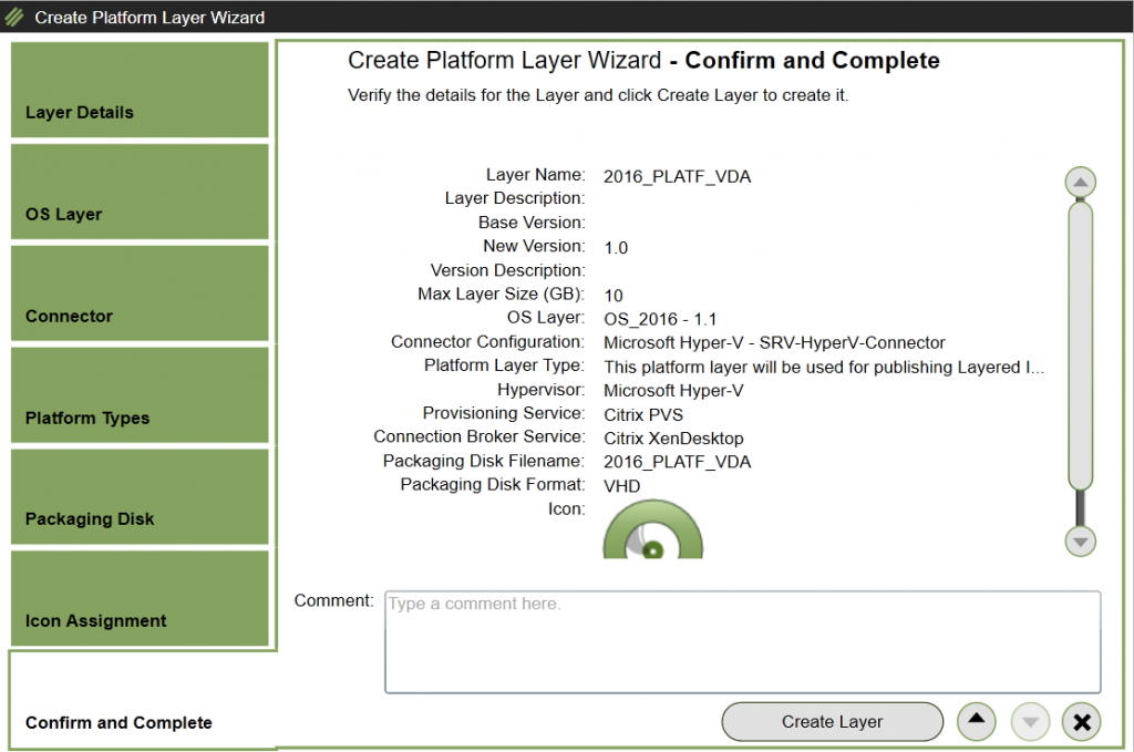 Create Platform Layer - Confirm