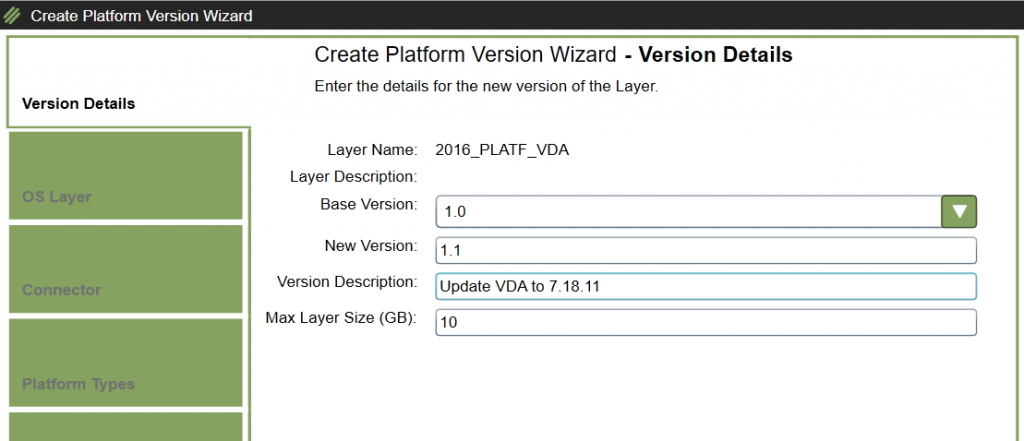 Platform Layer - Add version - Version Details