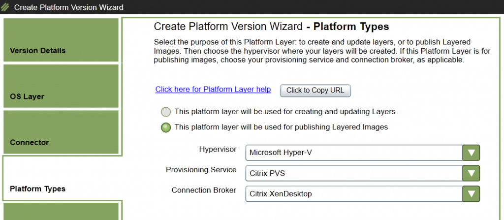 Platform Layer - Add version - Select Platform Types