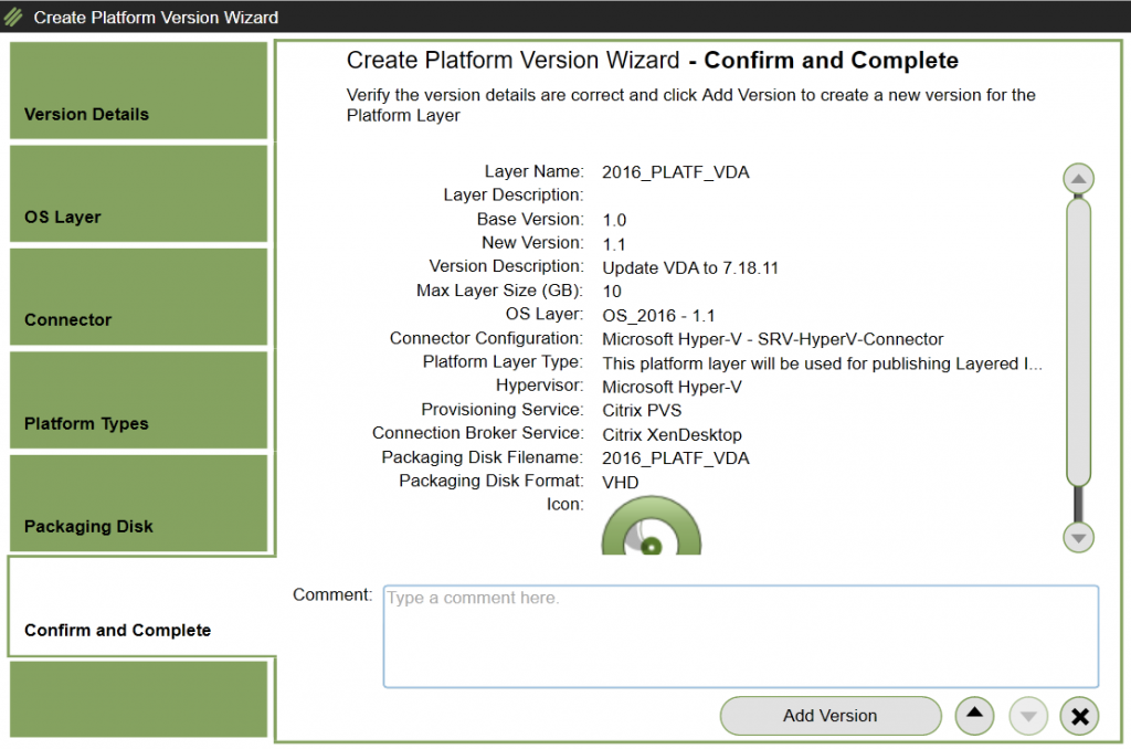 Platform Layer - Add version - Confirm version creation