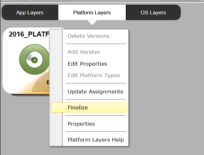 Platform Layer - Add version - Finalize version