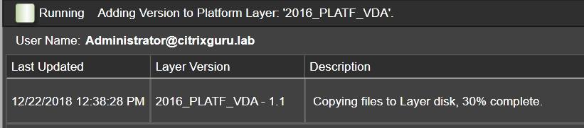 Platform Layer - Add version - Copying to layer disk