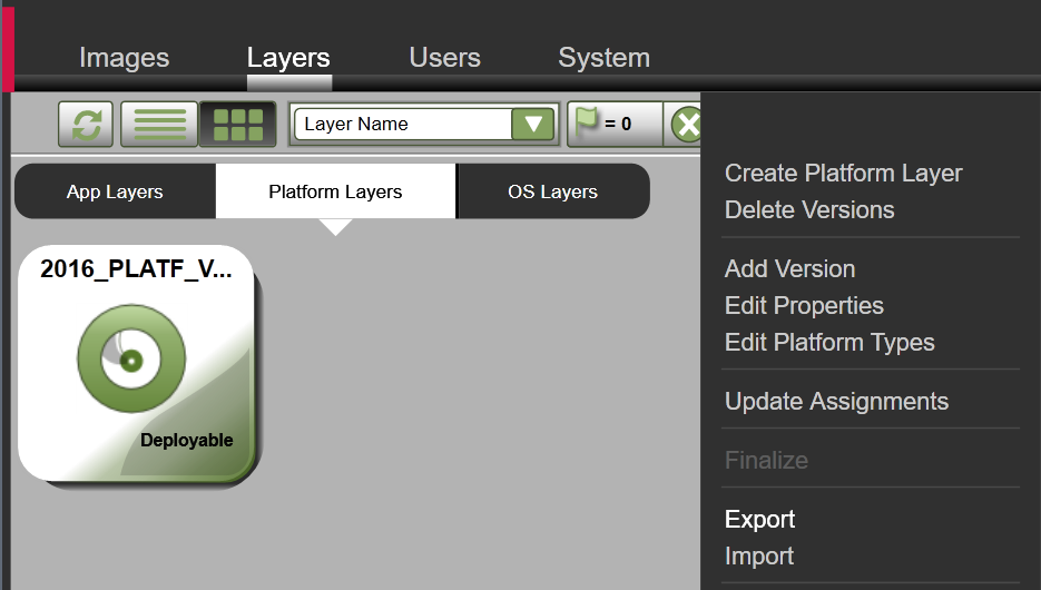 Platform Layer - Export