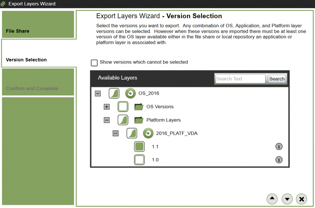 App layering - Export Layer - Select Layer/Version