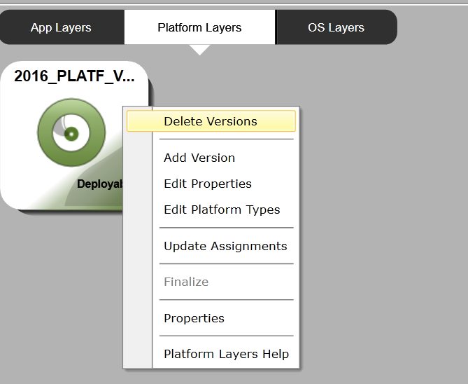 App layering - Delete Platform version