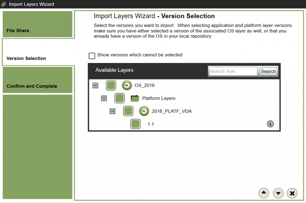 App layering - Import Layer - Select Layer/Version