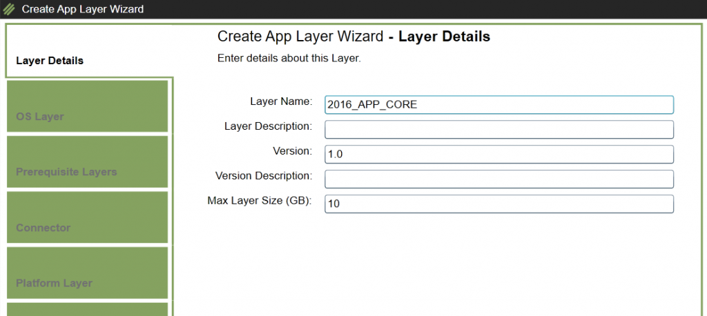 App Layers - Create a new App Layer - Layer details