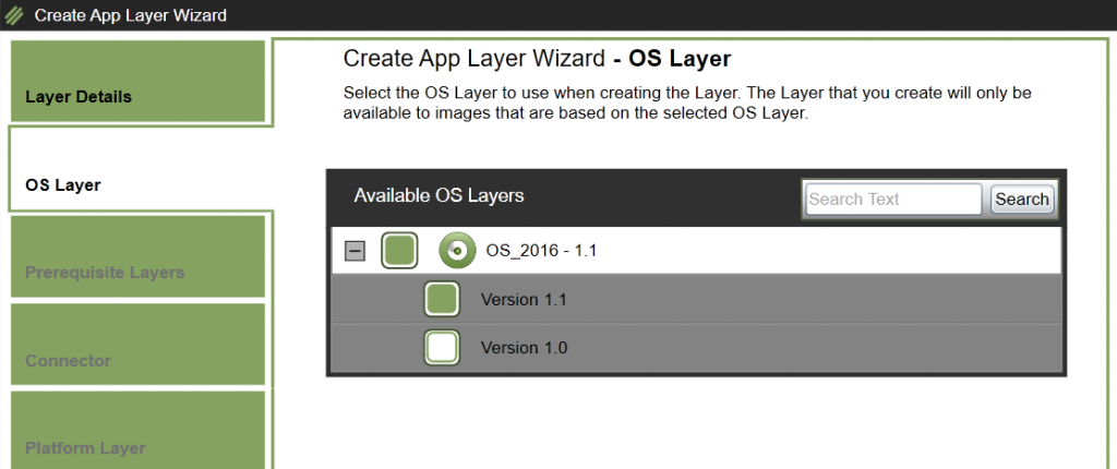 App Layers - Create a new App Layer - Select OS Layer
