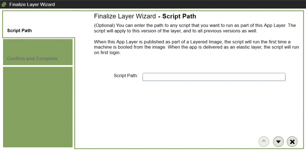 App Layers - Create a new App Layer - Script path