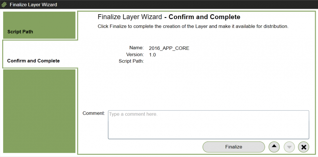 App Layers - Create a new App Layer - Confirm finalize