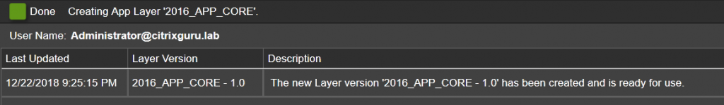 App Layers - Create a new App Layer - Created