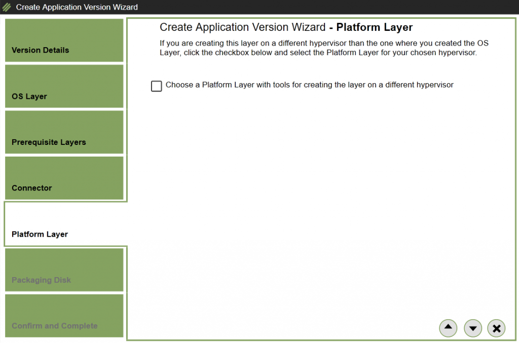 Apps Layer - Add version - Select Platform Layer