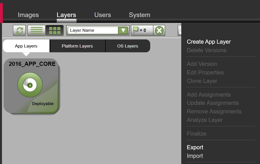 App Layers - Export