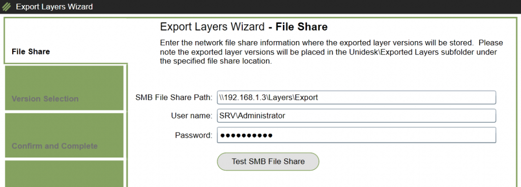 App Layers - Export - Destination and credentials