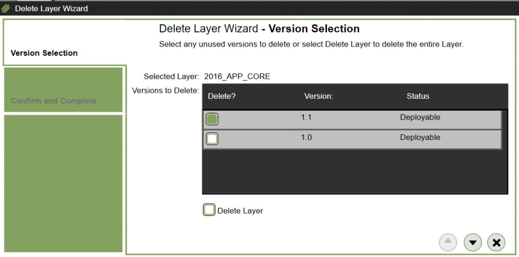 App Layers - Delete version/layer - Select version or layer