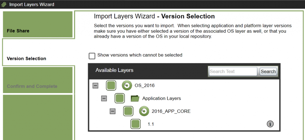 App Layers - Import Layer/Version - Select layer/version to import