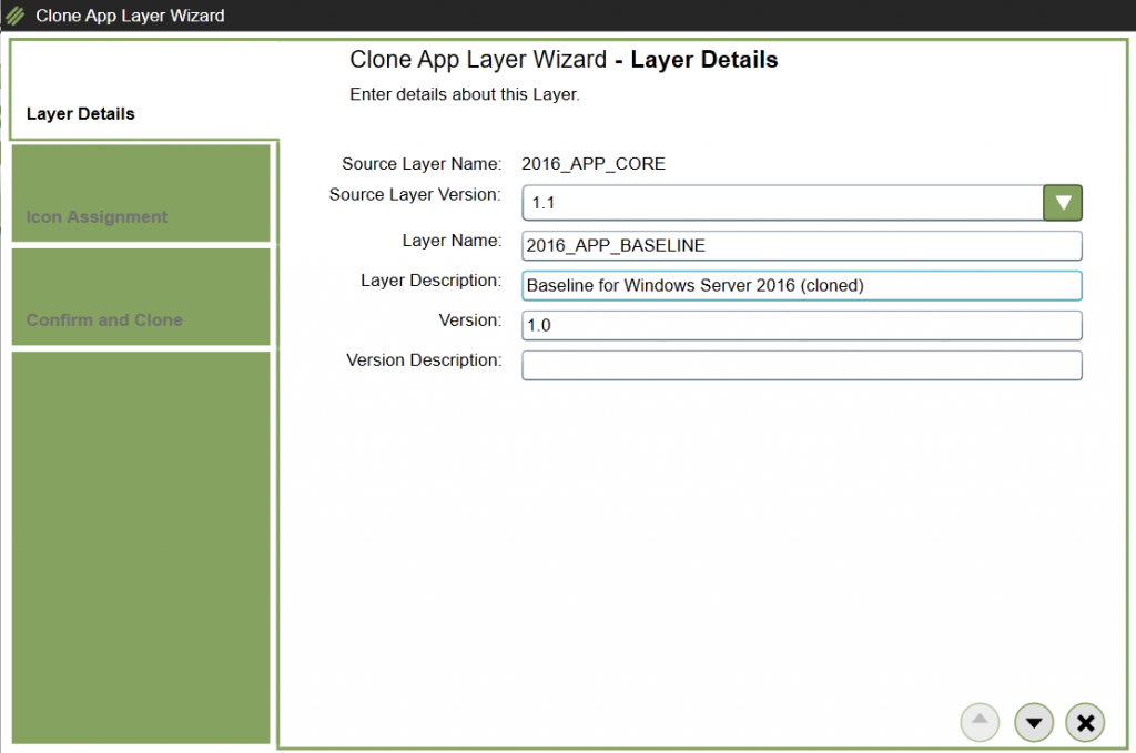 App Layers - Clone layer - Layer details