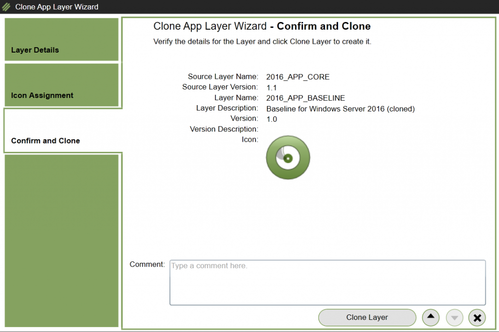 App Layers - Clone layer - Confirm and Clone