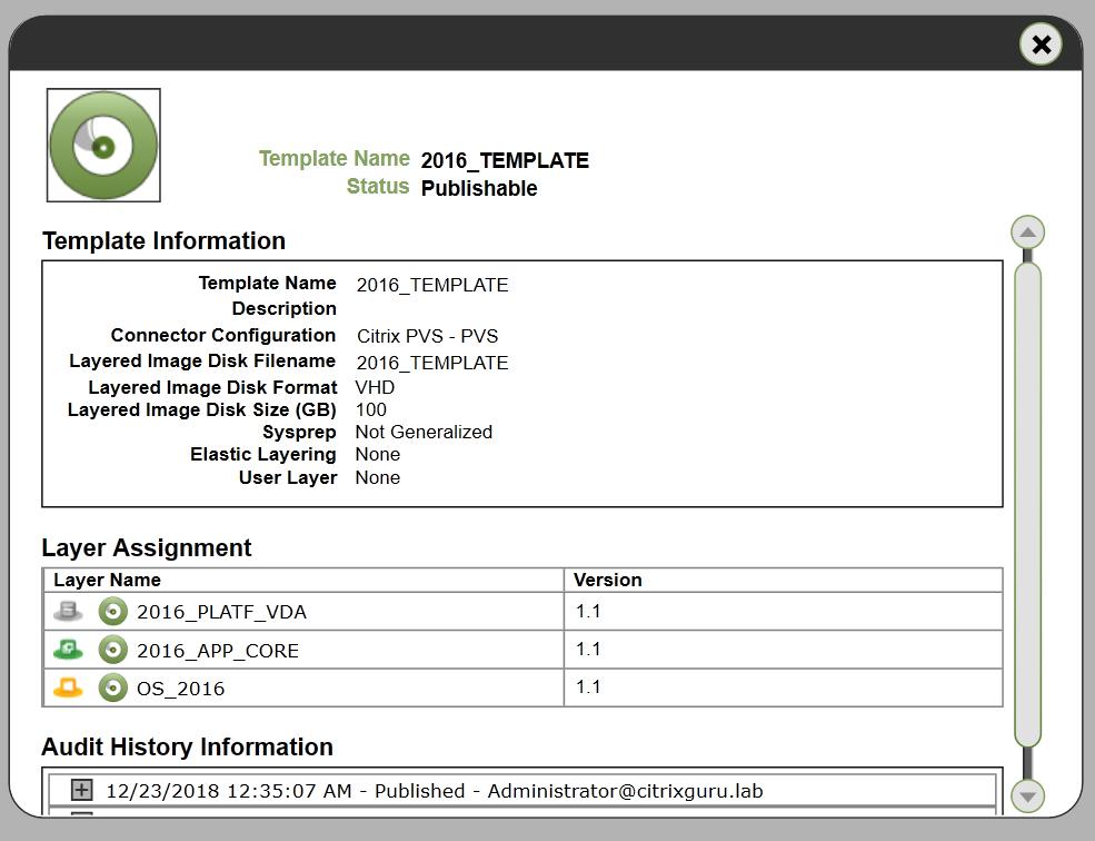 App Layering Image Deployment - Template - Properties details