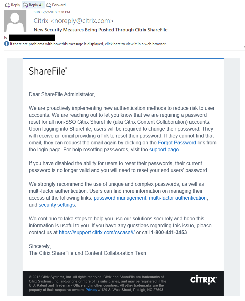 Email sent to ShareFile admins on Sunday