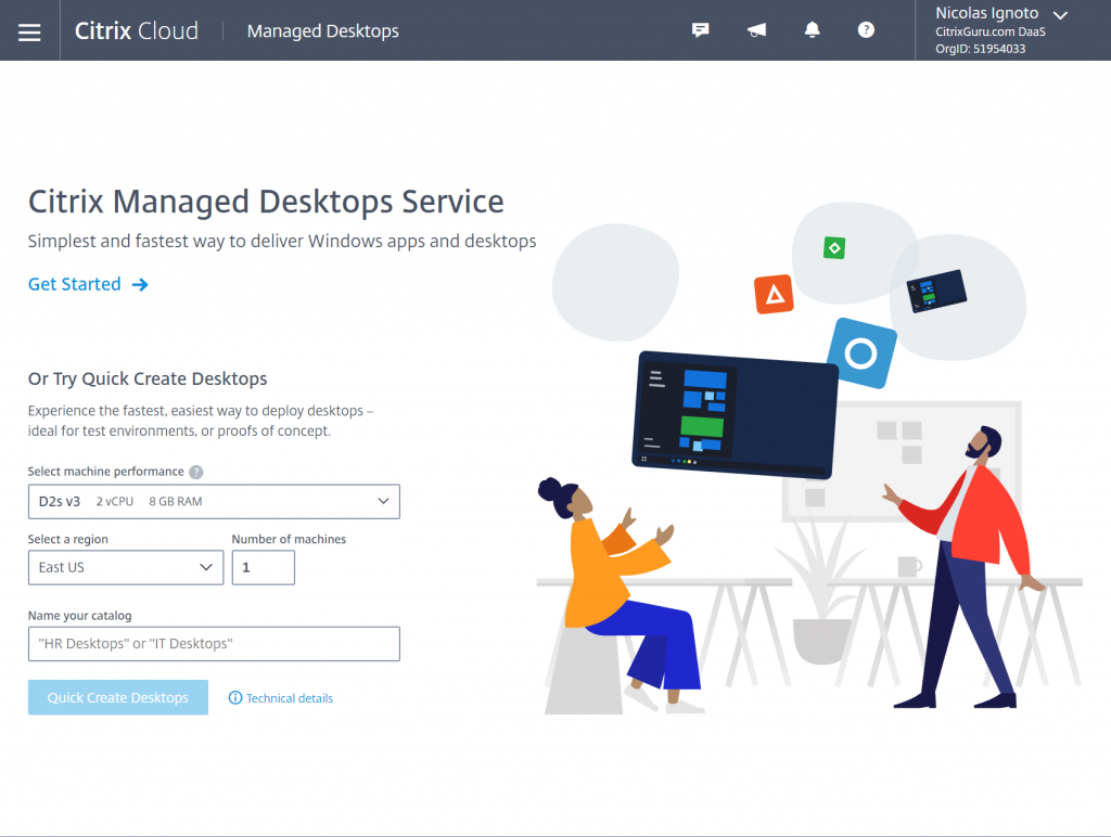 Citrix Managed Desktops Service in Citrix Cloud